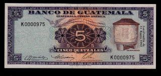 Guatemala 5 Quetzales 1967 K Low Serial Pick 53d Vf+. photo