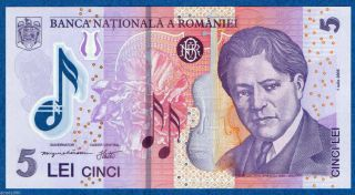 Romania 5 Lei 2005 July Polymer Banknote Unc P 118 Enescu photo