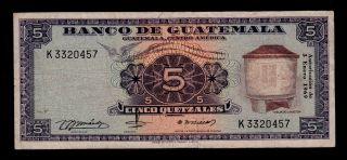 Guatemala 5 Quetzales 1969 K Pick 53f Fine+. photo