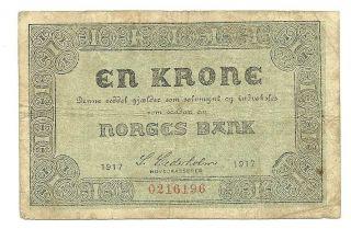 Norway 1 Krone 1917 - F - Note - Buy It Now photo