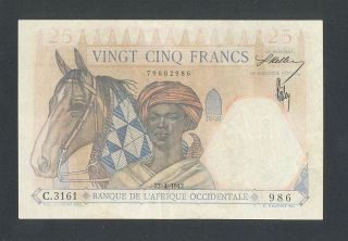 French West Africa,  25 Francs 22/4/1942 Vf/xf P - 27,  Horse And Lion On Back. photo
