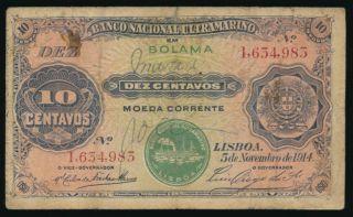 Portuguese Guinea 10 Centavos 1914,  P.  6 photo