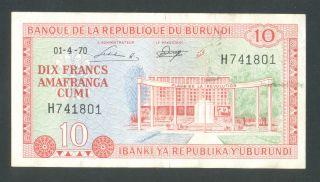 Burundi 10 Francs 1 - 4 - 1970 Vf/xf P20b photo