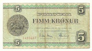 Faroe Islands 5 Kronur - 1949 - Vg - Buy It Now photo