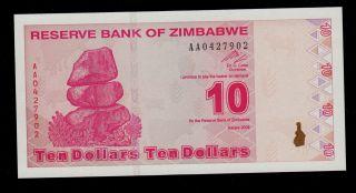 Zimbabwe 10 Dollars 2009 Pick 94 Unc photo