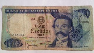 Banco De Portugal 1965 100 Escudos Ouro photo