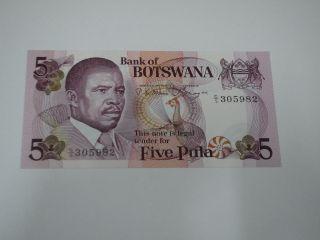 Botswana 5 Pula.  Pic 8a Unc photo