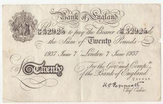 Great Britain Englad 20 Pounds 7 - 6 - 1937 Operation Bernhard See Photo photo