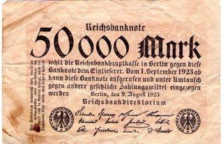 Scarce German Post Wwi 1923 50,  000 Mark - Well Circulated photo