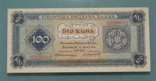 Croatia Ndh 100 Kuna 1943.  Unc photo