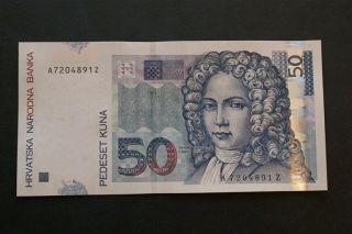 Croatia Hrvatska 50 Kuna 2002.  Unc,  Serial Suffix Z - Replacement photo