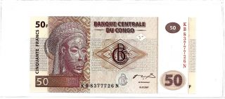 2003 Congo 50 Francs Note - Crisp Uncirculated - Comes In Protective Sleeve photo