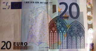 20 Euro Bill Twenty Euros Europe Currency Authentic Nr photo