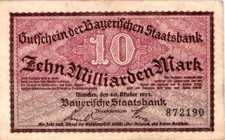 Scarce German Post Wwi 1923 10 Million Mark Overprint - Munich photo