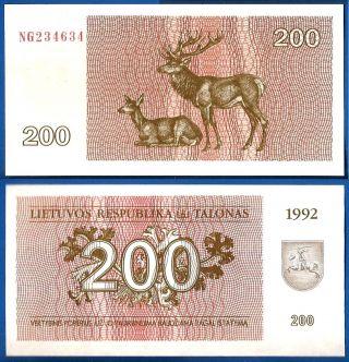 Lithuania 200 Talonas 1992 Unc Animal Litu World Ppal photo