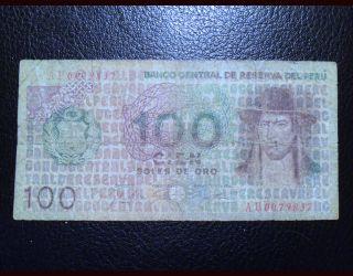 Banco Central De Reserva Del Peru Cien Soles De Oro Note Circa 1976 photo