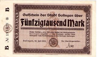Rare German Post Wwi 1923 50,  000 Mark Minted In The Solingen State photo