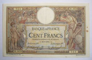 1916 Ww1 French Banknote 100 Francs Merson Vf + photo
