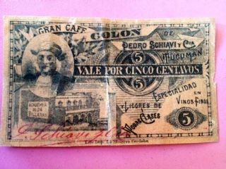 Argentina Very Rare Private Scrip Banknote Tucuman Nd 1895 photo