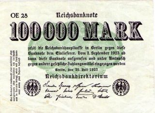 Scarce German Inflation 1923 100,  000 Mark Low Number Oe 28 - Minted In Berlin photo