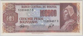 Bolivia - 100,  000 Pesos Bolivianos Pick 171a photo