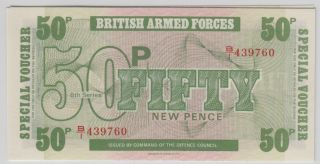 Great Britain - British Armed Forces,  Special Voucher 1972 Sixth Serie 50 Pence photo