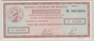 Bolivia - 100,  000 Pesos Bolivianos Pick 188 photo