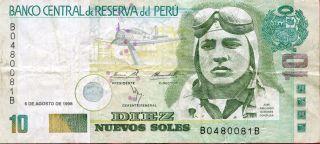 Peru 10 Nuevos Soles 1998 P - 166 F photo