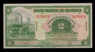 Nicaragua 2 Cordobas 1945 Pick 92b Vf. photo