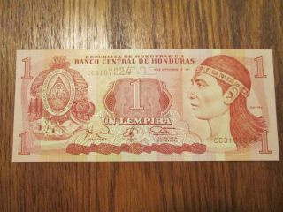 Unc Honduras 1997 1 Un Lempira Bankote P79 Foreign Note Bill Uncircurculated photo