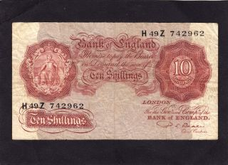 Great Britain 10 Shillings Nd 1949 - 55 P - 368b,  Vg photo
