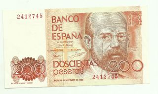 Spain 200 Pesetas 1980 No Series Letter P - 156 Xf 1rf 26oct photo