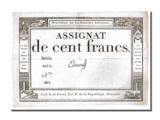 French Assignats,  100 Francs Type Domaines Nationaux,  Signé Edouard photo