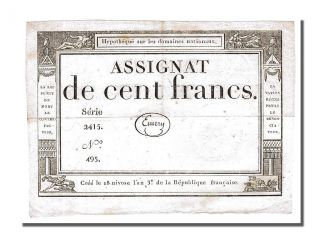 French Assignats,  100 Francs Type Domaines Nationaux,  Signé Emery photo
