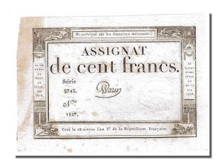 French Assignats,  100 Francs Type Domaines Nationaux,  Signé Warin photo