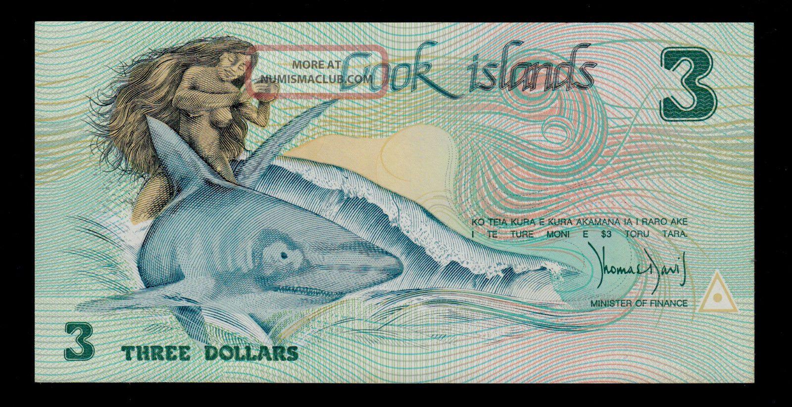 QT173 : Cook Islands 3 Dollars 1987