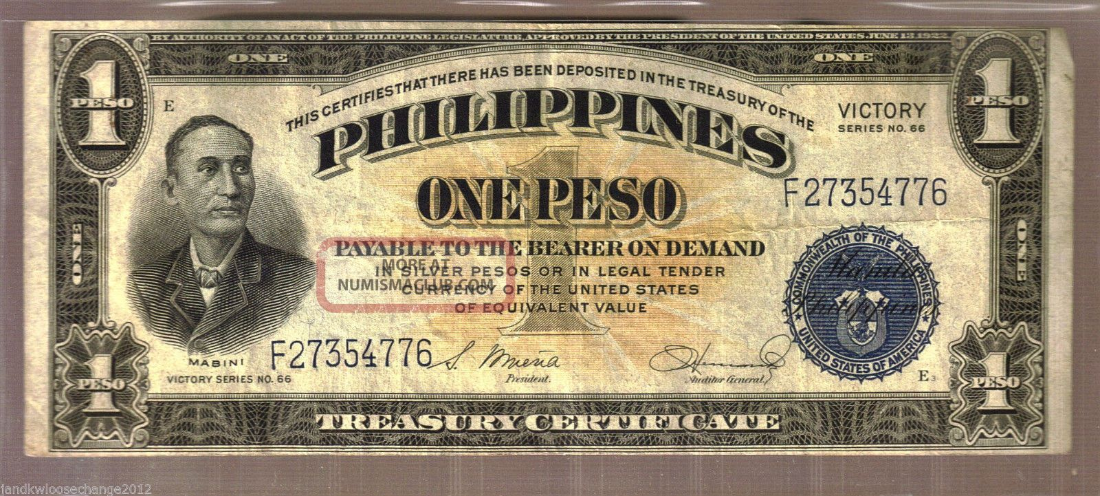 1944 philippines one peso victory note series 66 lightly