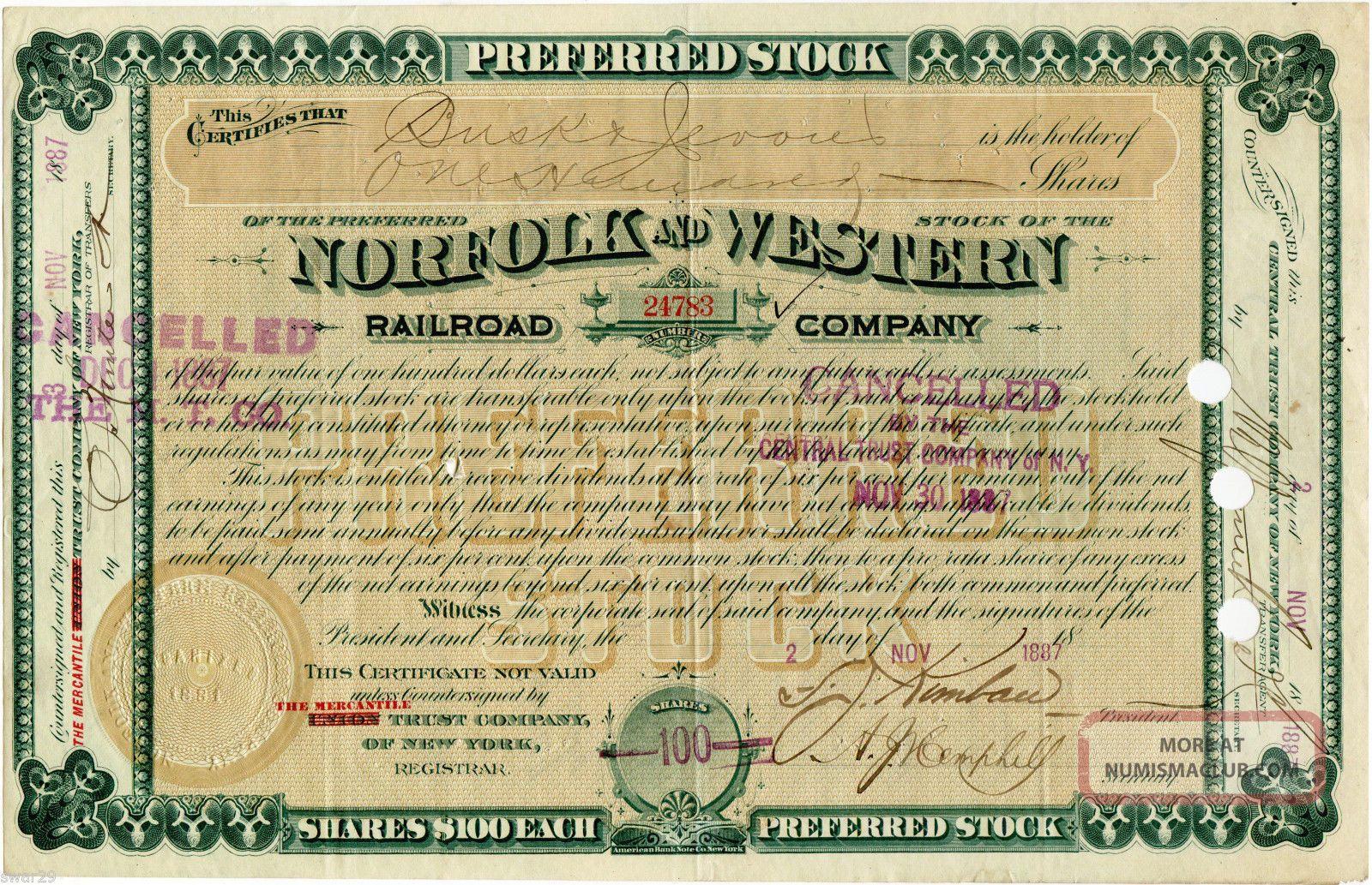 Norfolk & Western Railroad Stock Certificate Issued 1887 Railway N&w Transportation photo