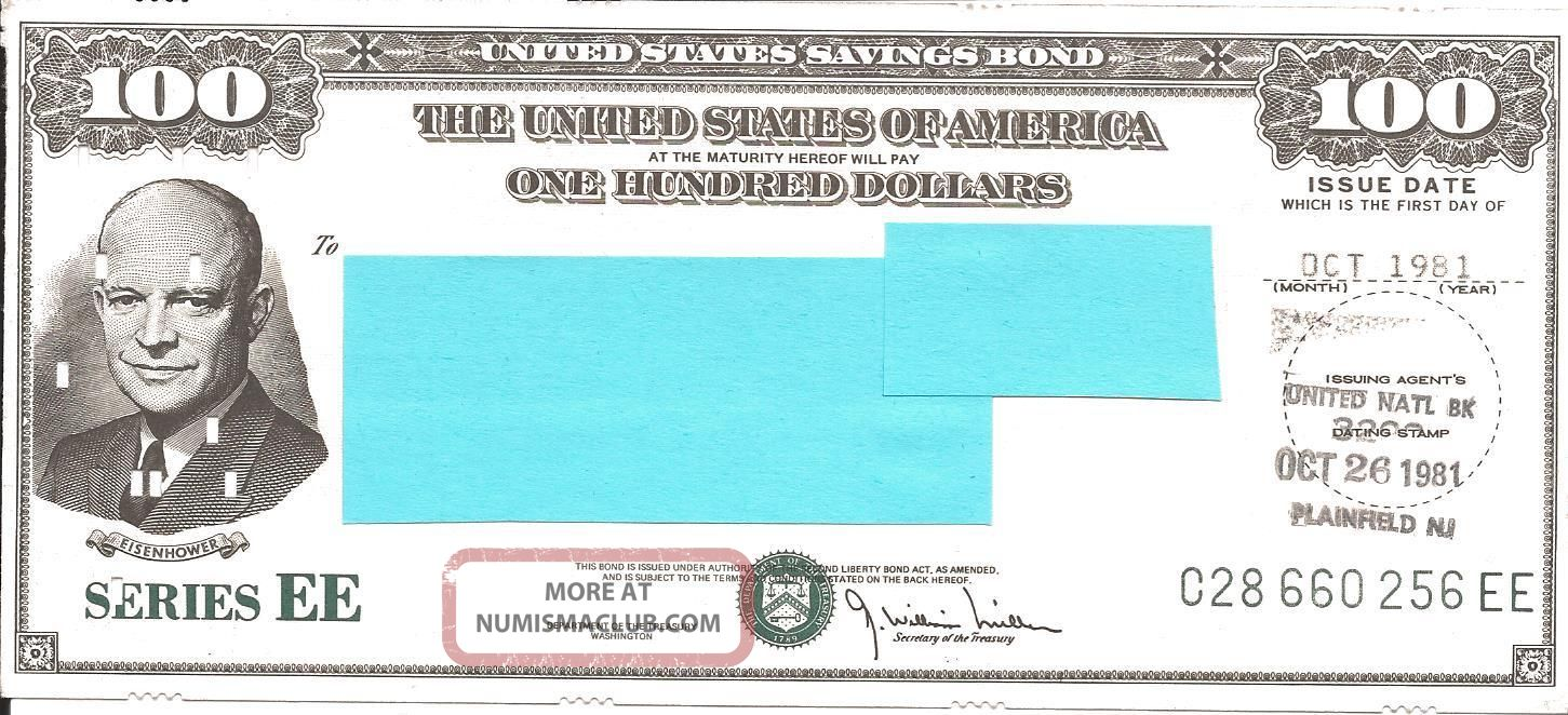 Us Series Ee Savings Bond: $100 Oct 1981 - Eisenhower Punch Card - Unsigned (3) Stocks & Bonds, Scripophily photo
