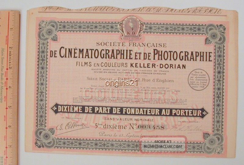 1928 French Co Stock Certificate Cinematographie Photography Keller Dorian Film Stocks & Bonds, Scripophily photo
