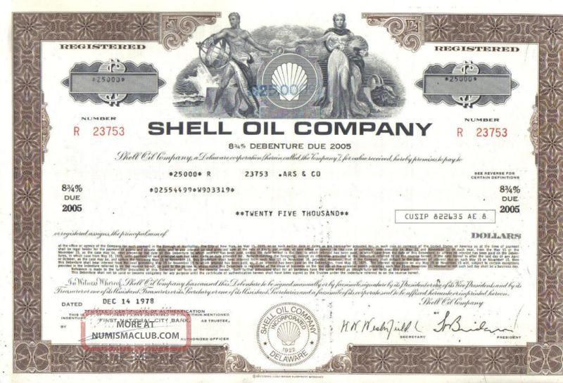 Usa Famous Shell Oil Company 1978 Less Than 100000 Deco Stocks & Bonds, Scripophily photo