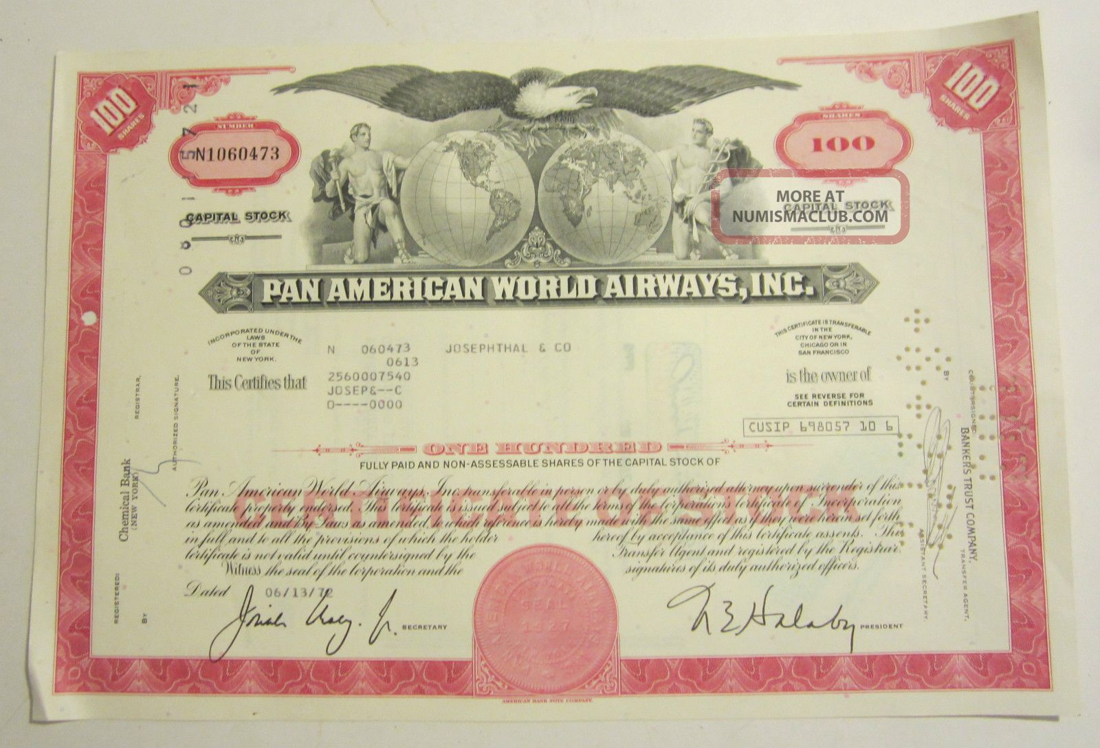 1972 Pan American World Airways Inc 100 Shares Capital Stock Transportation photo
