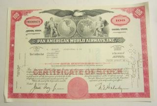 1972 Pan American World Airways Inc 100 Shares Capital Stock photo