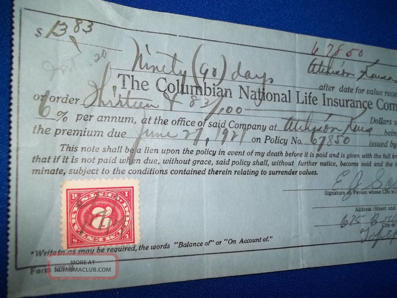 Columbian Insurance Company 1921 Life Certificate Old Policy Paper Stocks & Bonds, Scripophily photo