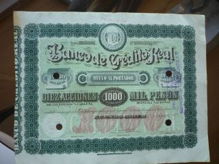 Argentina Stock Banco De Credito Real $5000 Vf+1.  8.  1888 photo