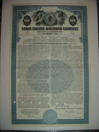 Union Pacific Railroad Bond Stock Certificate Up photo