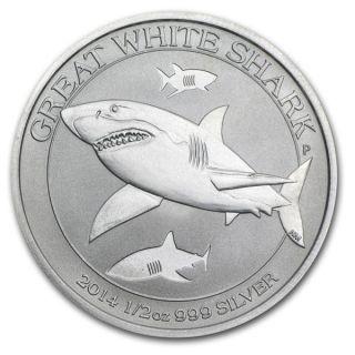 2014 1/2 Oz Silver Australian Great White Shark.  Australia ' S American Eagle photo
