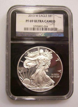 Retro/black Label : 2013 - W Silver American Eagle Proof Ngc Pf69 photo