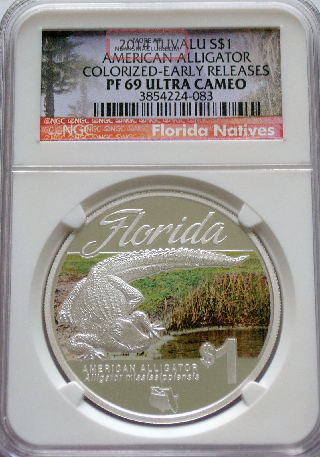 Ngc 2014 Tuvalu American Alligator 1 Pf69 Early R Florida
