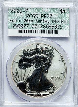 2006 - P $1 20th Anniverary Reverse Proof Silver Eagle Pcgs Pr70 Doily Label photo